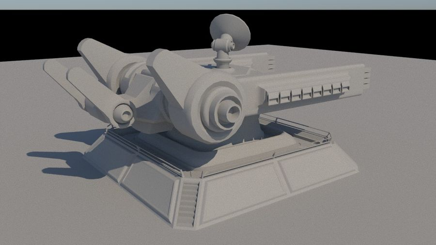 Low Poly Sci-Fi Ground Heavy Laser Turret royalty-free 3d model - Preview no. 6