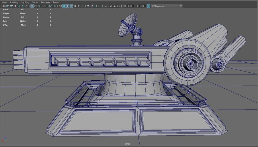 Low Poly Sci-Fi Ground Heavy Laser Turret royalty-free 3d model - Preview no. 23