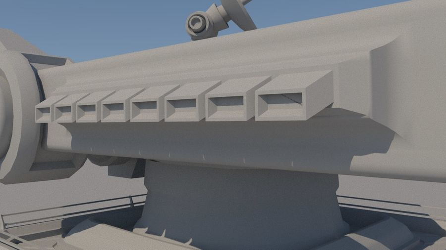 Low Poly Sci-Fi Ground Heavy Laser Turret royalty-free 3d model - Preview no. 15