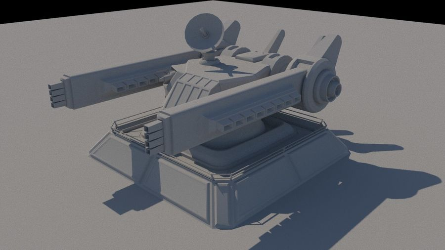 Low Poly Sci-Fi Ground Heavy Laser Turret royalty-free 3d model - Preview no. 3
