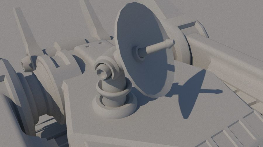 Low Poly Sci-Fi Ground Heavy Laser Turret royalty-free 3d model - Preview no. 9
