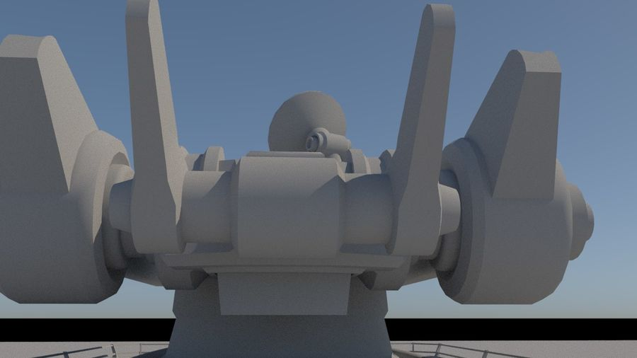 Low Poly Sci-Fi Ground Heavy Laser Turret royalty-free 3d model - Preview no. 13