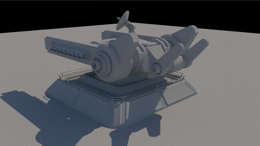 Low Poly Sci-Fi Ground Heavy Laser Turret royalty-free 3d model - Preview no. 4