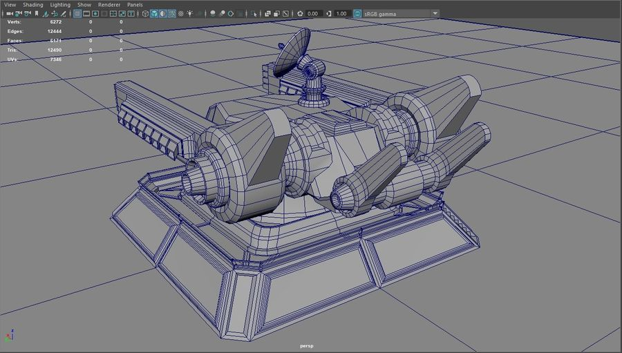 Low Poly Sci-Fi Ground Heavy Laser Turret royalty-free 3d model - Preview no. 24