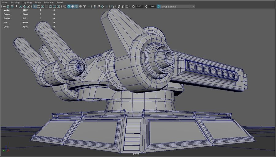 Low Poly Sci-Fi Ground Heavy Laser Turret royalty-free 3d model - Preview no. 1