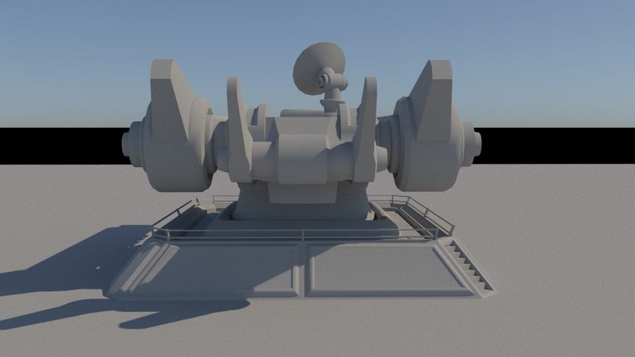 Low Poly Sci-Fi Ground Heavy Laser Turret royalty-free 3d model - Preview no. 5