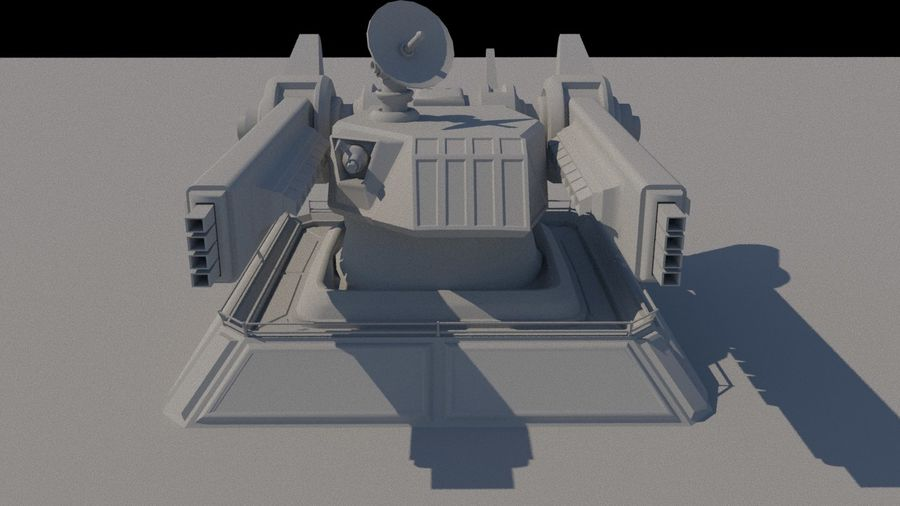 Low Poly Sci-Fi Ground Heavy Laser Turret royalty-free 3d model - Preview no. 2