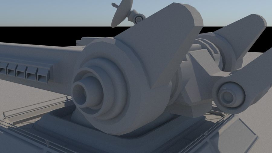 Low Poly Sci-Fi Ground Heavy Laser Turret royalty-free 3d model - Preview no. 14