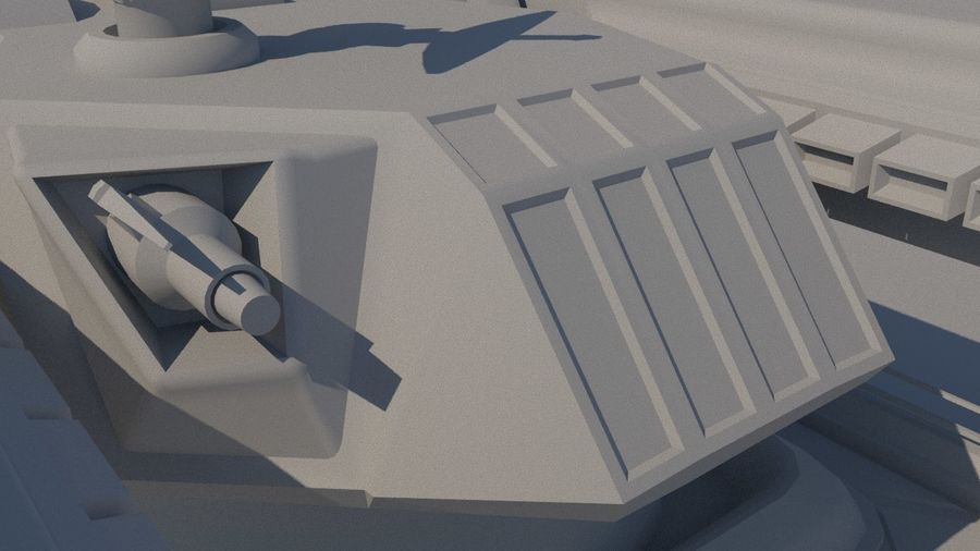 Low Poly Sci-Fi Ground Heavy Laser Turret royalty-free 3d model - Preview no. 8