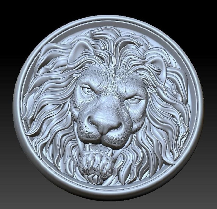 Lion Head  Medallion 3D print royalty-free 3d model - Preview no. 2