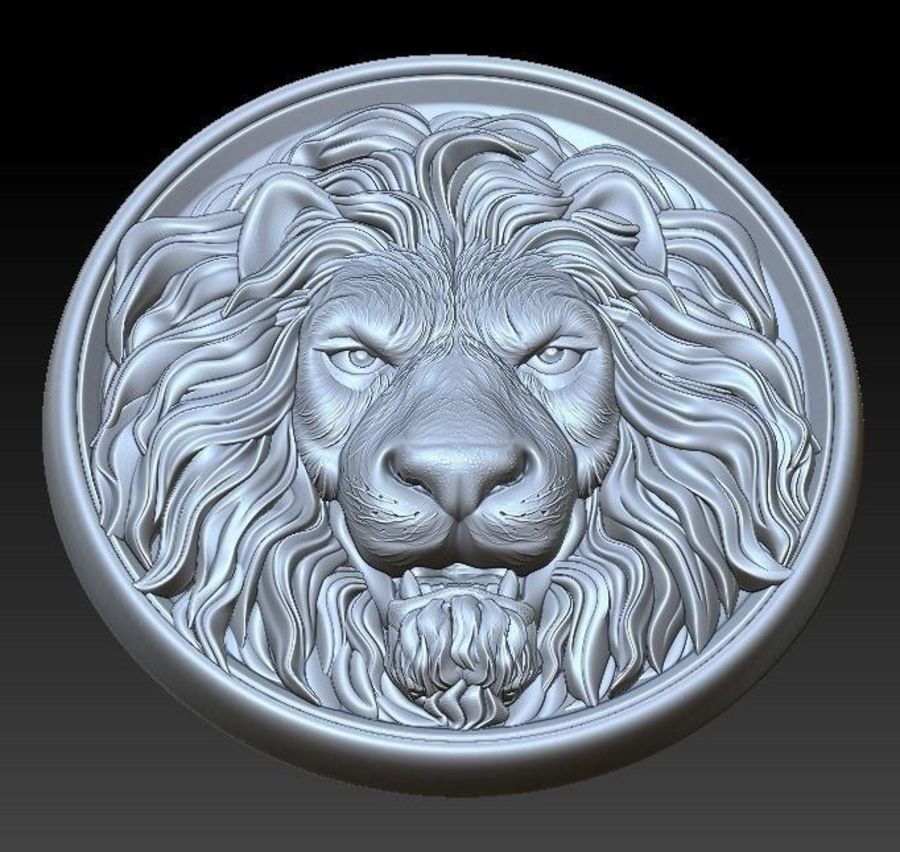 Lion Head  Medallion 3D print royalty-free 3d model - Preview no. 5