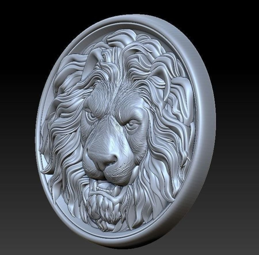 Lion Head  Medallion 3D print royalty-free 3d model - Preview no. 4