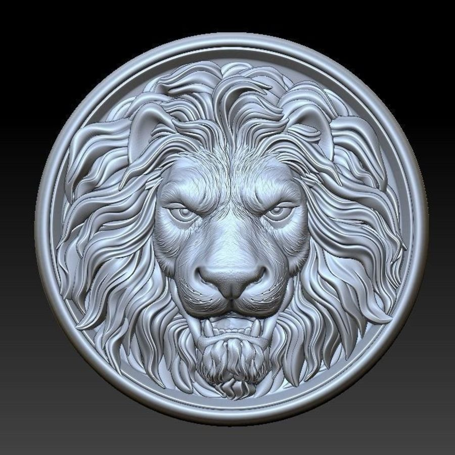 Lion Head  Medallion 3D print royalty-free 3d model - Preview no. 1