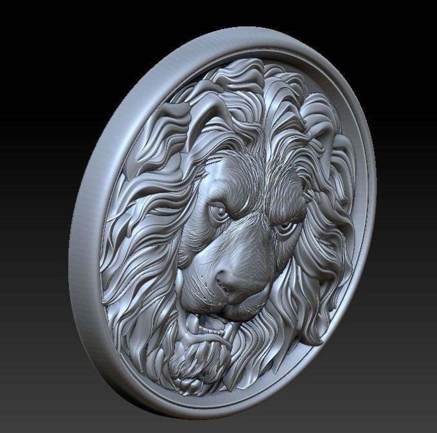 Lion Head  Medallion 3D print royalty-free 3d model - Preview no. 3