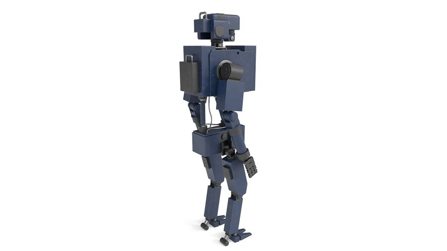 Blue Robot royalty-free 3d model - Preview no. 3
