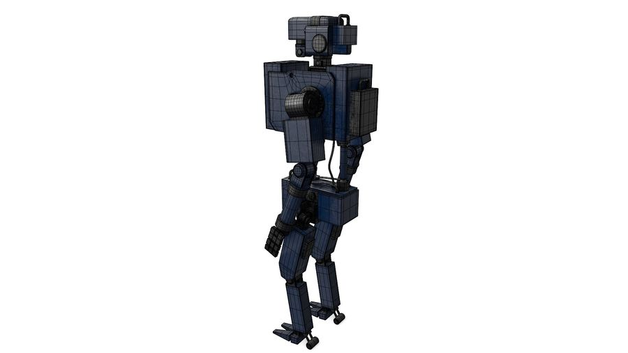 Blue Robot royalty-free 3d model - Preview no. 8
