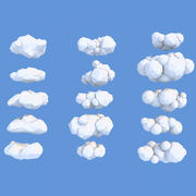 15 nuages low-poly (dessin animé) 3d model