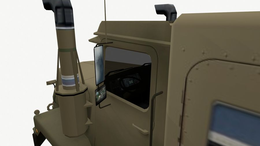 Army Tow Truck Low-poly royalty-free 3d model - Preview no. 1