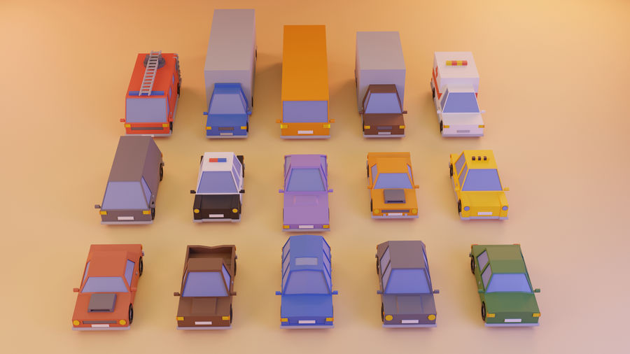 15 Cartoon Low Poly Cars royalty-free 3d model - Preview no. 1