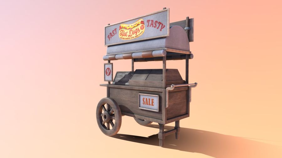 Wooden street food cart model with textures and UVs 3D model royalty-free 3d model - Preview no. 3