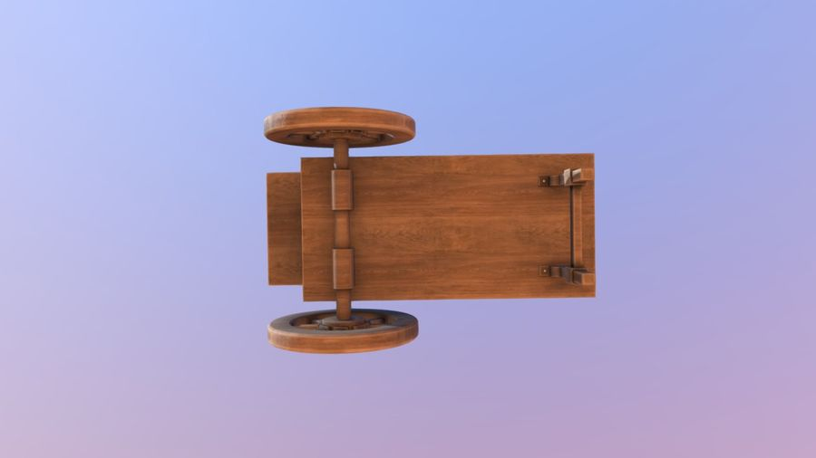Wooden street food cart model with textures and UVs 3D model royalty-free 3d model - Preview no. 7