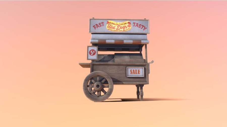 Wooden street food cart model with textures and UVs 3D model royalty-free 3d model - Preview no. 9