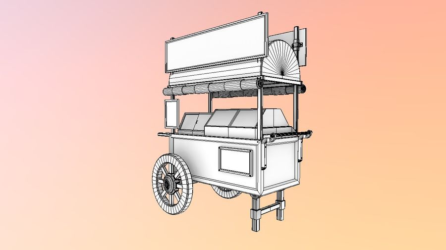 Wooden street food cart model with textures and UVs 3D model royalty-free 3d model - Preview no. 2