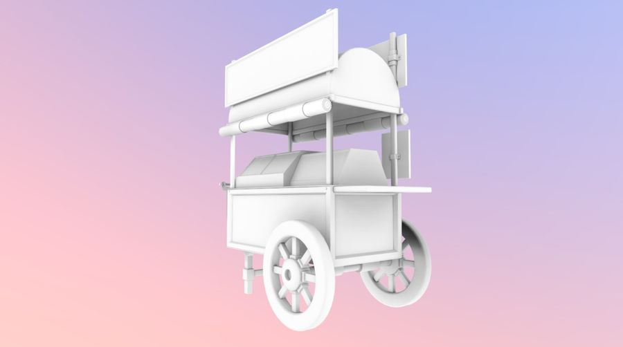 Wooden street food cart model with textures and UVs 3D model royalty-free 3d model - Preview no. 12