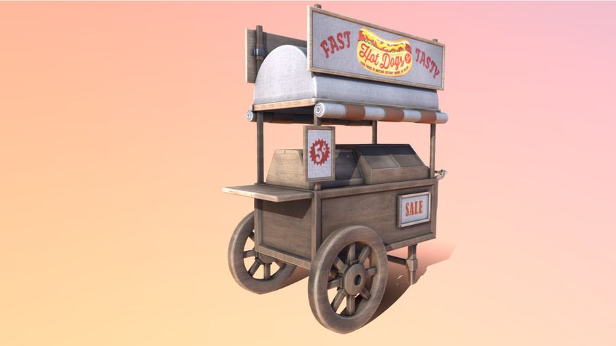 Wooden street food cart model with textures and UVs 3D model royalty-free 3d model - Preview no. 5