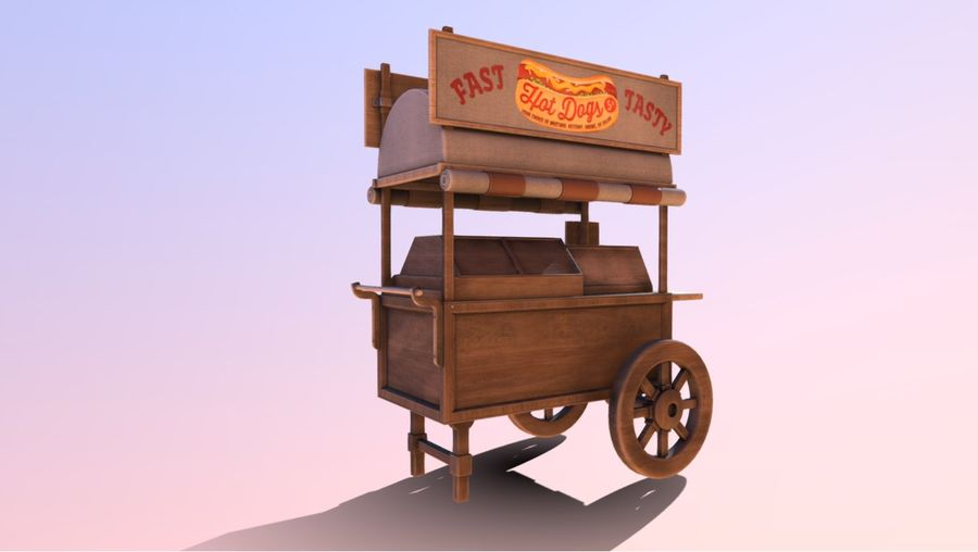 Wooden street food cart model with textures and UVs 3D model royalty-free 3d model - Preview no. 1