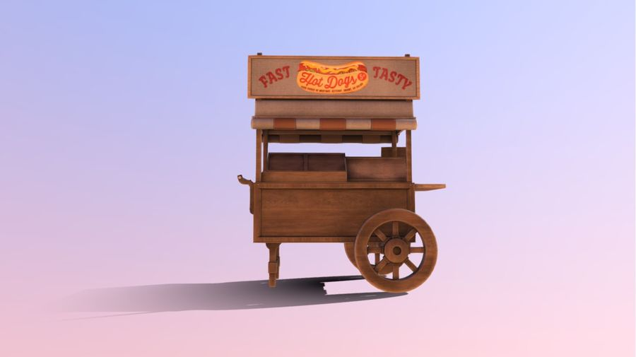 Wooden street food cart model with textures and UVs 3D model royalty-free 3d model - Preview no. 8