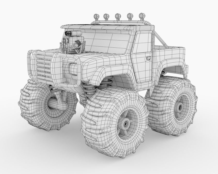 Toy Monster Off road Truck royalty-free 3d model - Preview no. 2