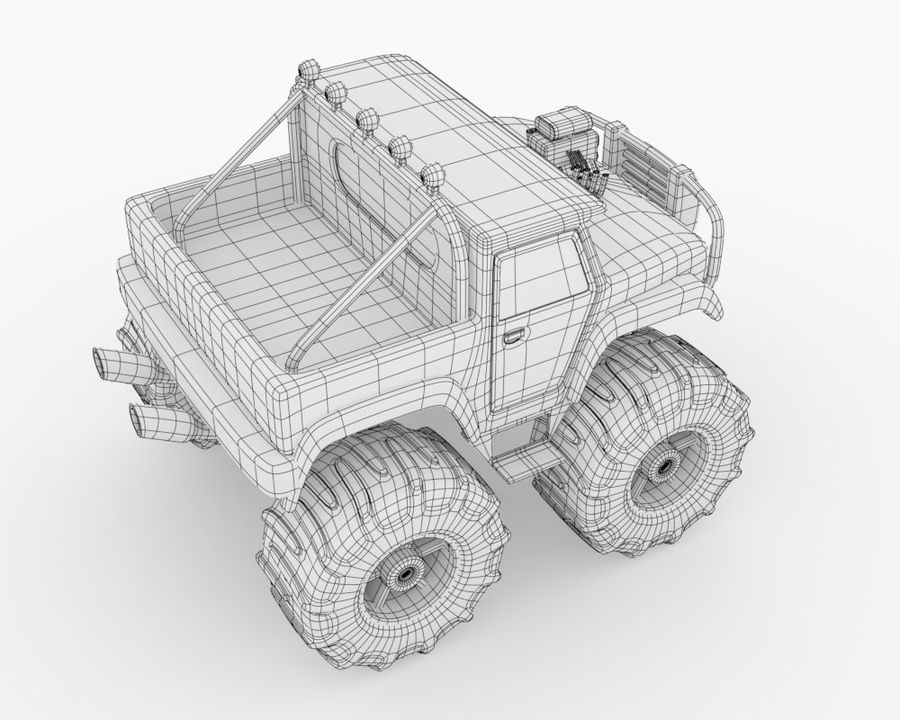Toy Monster Off road Truck royalty-free 3d model - Preview no. 8