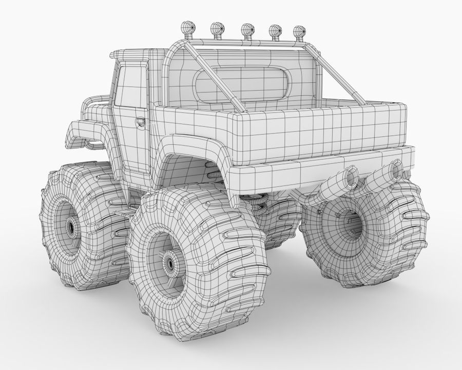 Toy Monster Off road Truck royalty-free 3d model - Preview no. 6