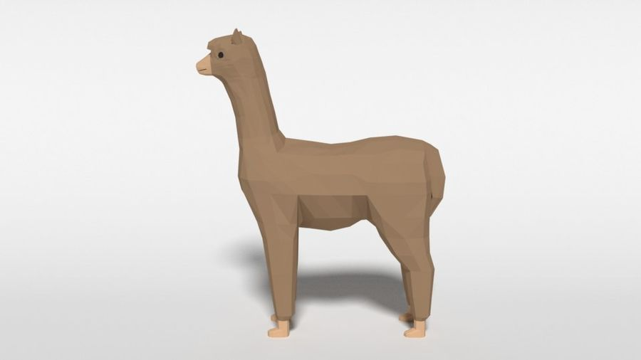 Low Poly Cartoon Alpaca royalty-free 3d model - Preview no. 2