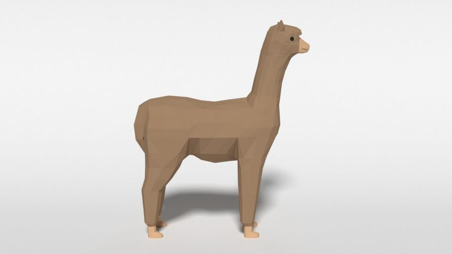 Low Poly Cartoon Alpaca royalty-free 3d model - Preview no. 6
