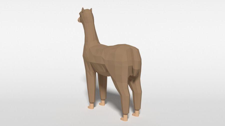 Low Poly Cartoon Alpaca royalty-free 3d model - Preview no. 3