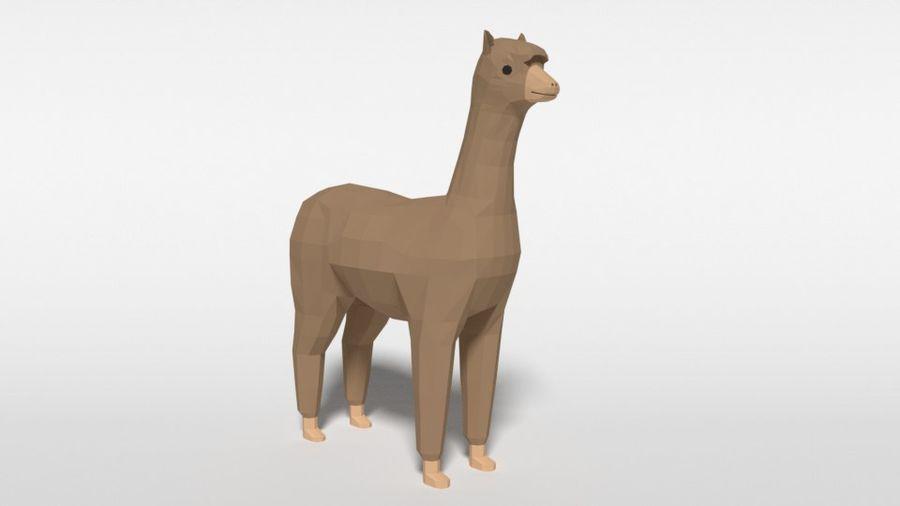 Low Poly Cartoon Alpaca royalty-free 3d model - Preview no. 7