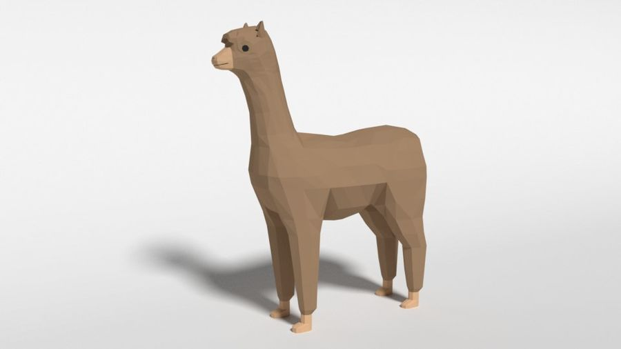 Low Poly Cartoon Alpaca royalty-free 3d model - Preview no. 1