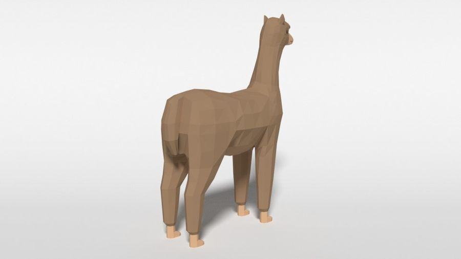 Low Poly Cartoon Alpaca royalty-free 3d model - Preview no. 5