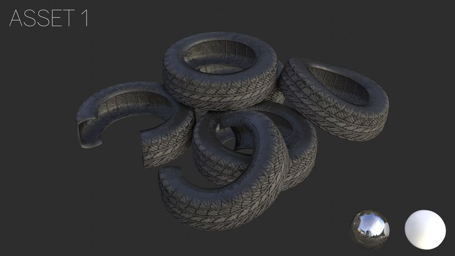 Car Tires Assets royalty-free 3d model - Preview no. 8