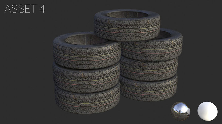 Car Tires Assets royalty-free 3d model - Preview no. 11