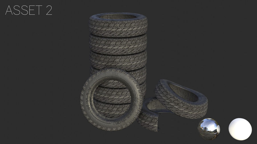 Car Tires Assets royalty-free 3d model - Preview no. 9