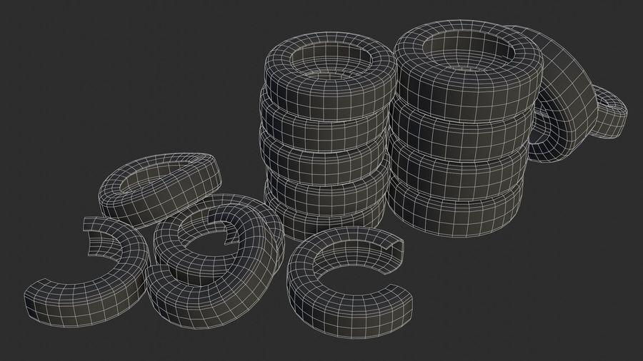 Car Tires Assets royalty-free 3d model - Preview no. 6