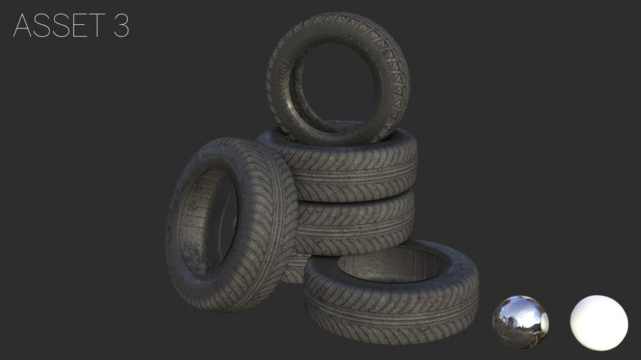 Car Tires Assets royalty-free 3d model - Preview no. 10