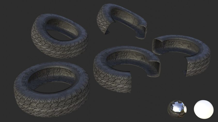 Car Tires Assets royalty-free 3d model - Preview no. 3