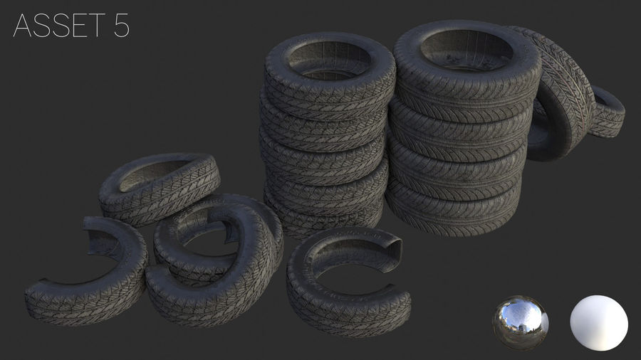 Car Tires Assets royalty-free 3d model - Preview no. 12