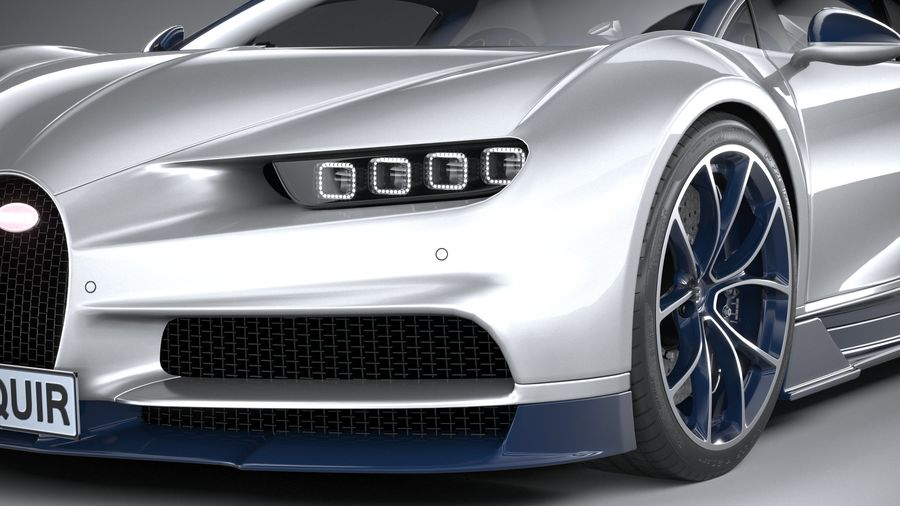 Bugatti Chiron 2020 royalty-free 3d model - Preview no. 4