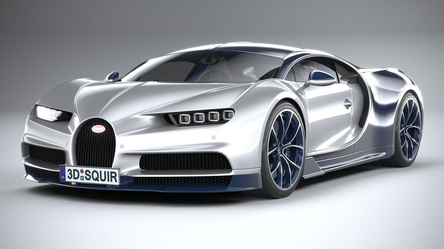 Bugatti Chiron 2020 royalty-free 3d model - Preview no. 3