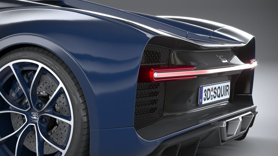 Bugatti Chiron 2020 royalty-free 3d model - Preview no. 7